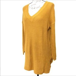 V Neck Knit Pullover Sweater Long Sleeves Top M